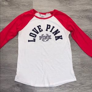 Red white and blue 3/4 sleeve tee